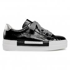 N49A2-00 Rieker black patent laced trainers