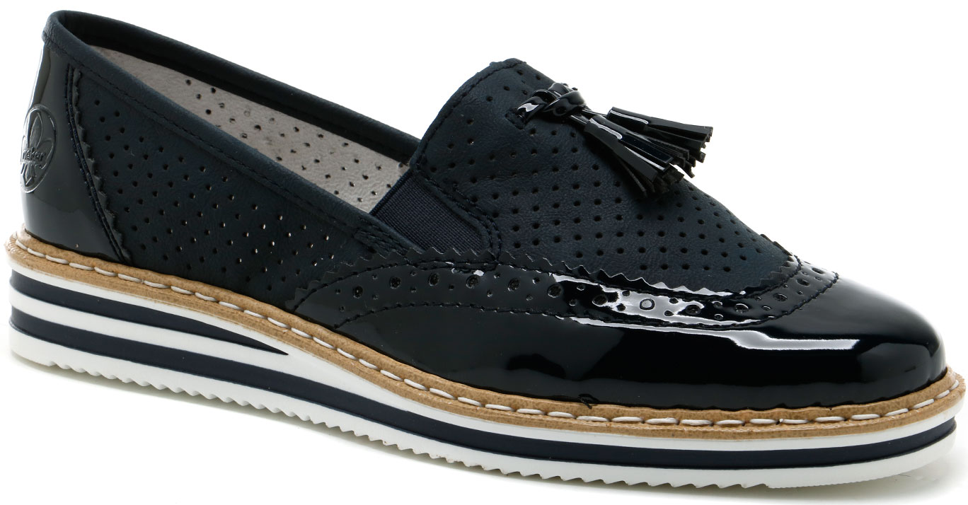 N0257-14 Rieker navy patent loafers