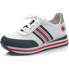 L2327-15 Rieker white laced trainers with red and navy trims