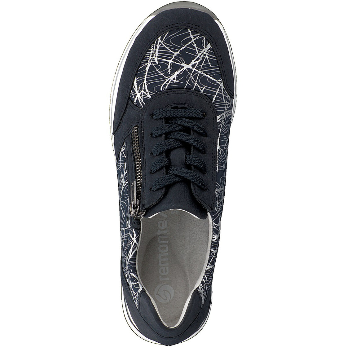 R6700 Remonte navy and silver laced trainers.