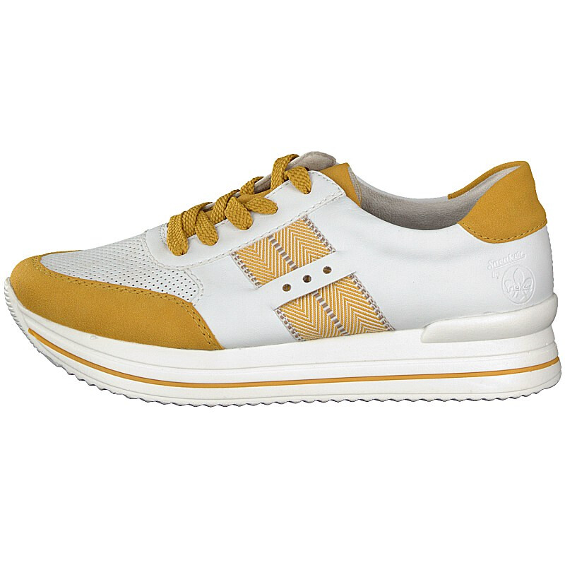 N7325-68 Rieker white combination laced trainers