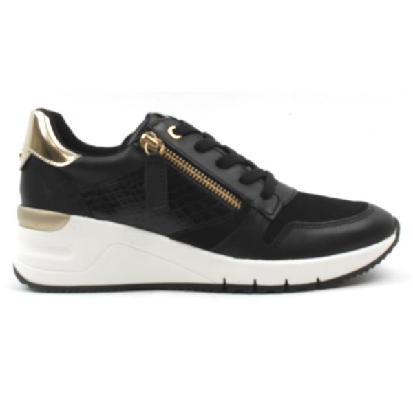 23702-26Tamaris black wedge trainers