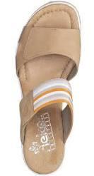 67490-60 Rieker beige strapless wedges.