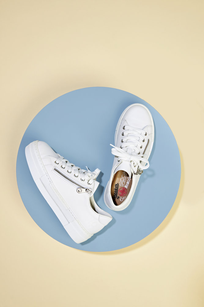 N4921-80 Rieker white laced trainers with side zip