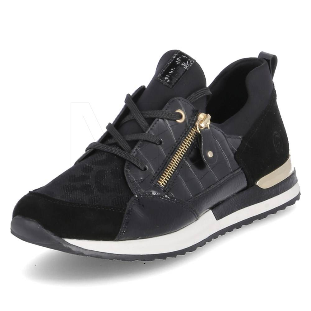 R2529-01 Remonte Black laced trainer