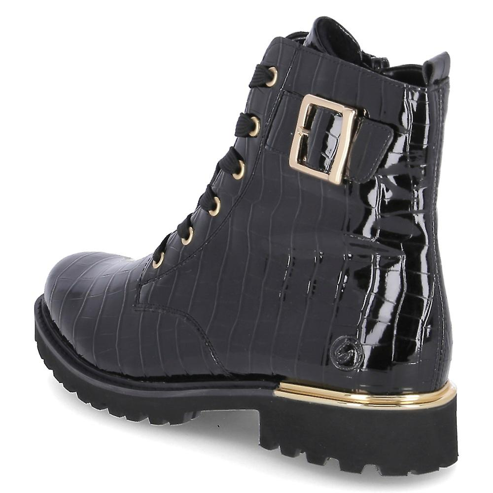 D8683-02 Remonte black patent laced boot