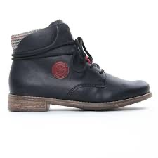 77431-00 rieker black laced ankle boot