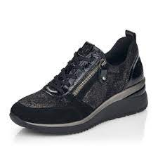D2401-02 Remonte black laced wedge shoe