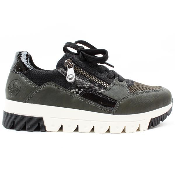 Rieker L2901 Black/dark green lace-up trainer