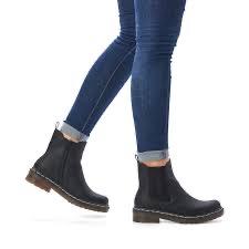 Rieker 76292-00 black boot with side-zip.
