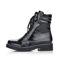 Rieker 70026-00 black patent boot